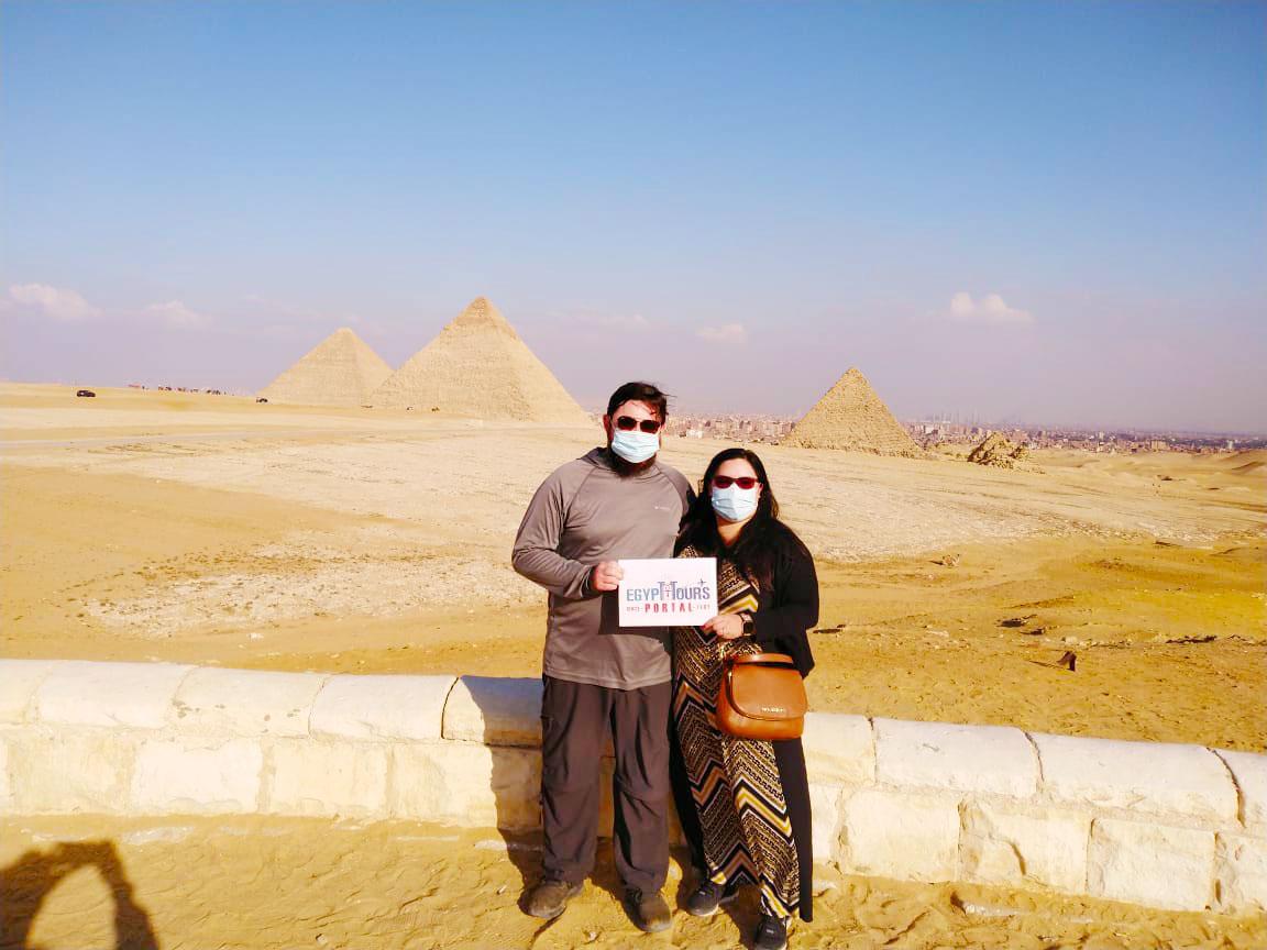 Customers of Egypt Tours Portal at Giza Pyramids